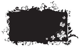 Vector nature frame. Vector frame with nature flowers, swirls and butterfly detail Stock Images