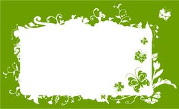 Vector nature frame. Vector frame with nature flowers, swirls and butterfly detail Royalty Free Stock Images