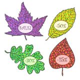 Vector nature frames with colorfull autumn leaves. Vintage Design Elements. Labels in mosaic style. Vector Illustration Royalty Free Stock Photography