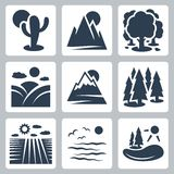 Vector nature icons set. Desert, mountains, forest, meadow and snow-covered mountains, conifer forest, field, sea and lake Royalty Free Stock Images