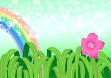 Vector of nature landscape with rainbow Stock Image