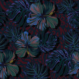 Vector nature pattern in very dark shades. Seamless vector dark leafy pattern. tropical leaves, and flowers very dark glowing pattern. serious colors for Royalty Free Stock Image