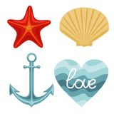 Vector nature set of starfish shell anchor and wavy background. Vector drawing royalty free illustration