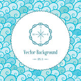 Vector nautical background with emblem and waves Stock Image