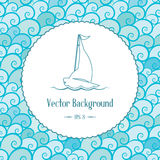 Vector nautical background with emblem and waves Royalty Free Stock Image