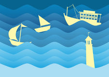 Vector nautical background with paper boat Stock Images