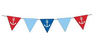 Vector Nautical Bunting with Anchor on White Background. Nautical flags vector illustration Royalty Free Stock Photos