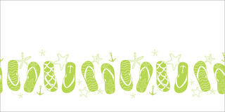 Vector nautical flip flops green horizontal border Royalty Free Stock Photos