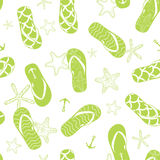 Vector nautical flip flops green seamless pattern Royalty Free Stock Images