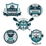 Vector nautical heraldic icons of seafarer sailing Royalty Free Stock Photos