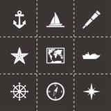 Vector nautical icon set. On black background Stock Image