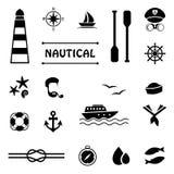 Vector nautical icons, stock illustration