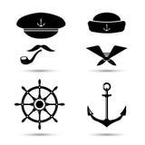 Vector nautical icons, captain and sailor, sea set Royalty Free Stock Photos