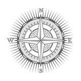 Vector nautical label. vintage compass, icon and design element. Royalty Free Stock Photography