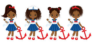 Vector Nautical Little African American Girls with Anchors Stock Photo