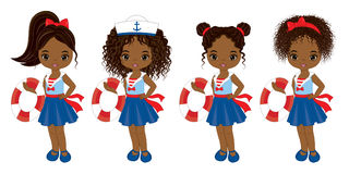 Vector Nautical Little African American Girls with Buoys Stock Image