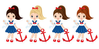 Vector Nautical Little Girls with Anchors Royalty Free Stock Photo