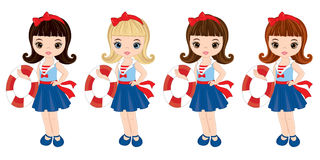 Vector Nautical Little Girls with Buoys Stock Photo