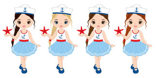 Vector Nautical Little Girls with Starfish Royalty Free Stock Images