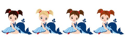 Vector Nautical Little Girls with Whales Royalty Free Stock Images