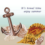 Vector Nautical Marine theme card. Vintage Holiday Sea shell and anchor on beach background. Sailing motif elements for Greeting card or travel cards vector illustration