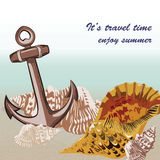 Vector Nautical Marine theme card. Vintage Holiday Sea shell and anchor on beach background. Sailing motif elements for Greeting card or travel cards Royalty Free Stock Images