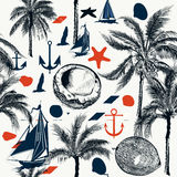 Vector nautical pattern on marine theme with palms and ships Royalty Free Stock Photo
