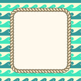 Vector nautical ropes frame waves background Royalty Free Stock Photos