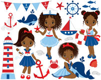 Vector Nautical Set with Cute Little African American Girls. Whale, anchor, crab, fish, anchor, ship and lighthouse. Vector nautical girls with various Stock Images