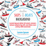 Vector nautical ships and boats background. Royalty Free Stock Images