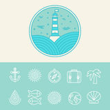 Vector nautical and travel icons Stock Image