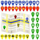 Vector navigation map  and map navigation icons and pin on white Royalty Free Stock Photo