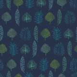 Vector navy blue geometrical tropical summer hawaiian seamless pattern with tropical green plants and leaves on dark Stock Images