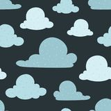 Vector Navy Bue Clouds Seamless Pattern Background Stock Photography