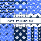 Vector navy seamless pattern set. Vector navy seamless pattern in blue color set Stock Photos