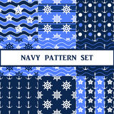 Vector navy seamless pattern set. Vector navy seamless pattern in blue color set Royalty Free Stock Photo