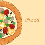 Vector neapolitan pizza with white cheese, tomato Stock Images