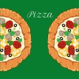 Vector neapolitan pizza with white cheese, tomato Royalty Free Stock Photos