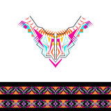 Vector neckline and borders design for fashion. Ethnic tribal neck print. Chest embellishment in boho style. Aztec ornaments Royalty Free Stock Photography