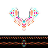 Vector neckline and borders design for fashion. Ethnic tribal neck print. Chest embellishment in boho style. Aztec ornaments Royalty Free Stock Images