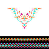 Vector neckline and borders design for fashion. Ethnic tribal neck print. Chest embellishment in boho style. Aztec ornaments Stock Photos