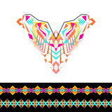 Vector neckline and borders design for fashion. Ethnic tribal neck print. Chest embellishment in boho style. Aztec ornaments Royalty Free Stock Image