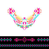 Vector neckline, patterns and border design for fashion. Ethnic tribal neck print. Chest embellishment in boho style. Aztec ornaments Stock Images