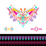 Vector neckline, patterns and borders design for fashion. Ethnic tribal neck print. Chest embellishment in boho style. Aztec ornaments Royalty Free Stock Photos
