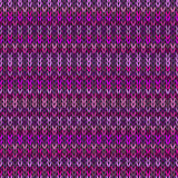 Vector Needlework Background, Violet Ornamental Knitted Pattern. Royalty Free Stock Images