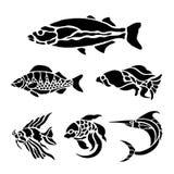 Vector negro acuático animal del ejemplo de la silueta de los pescados stock de ilustración