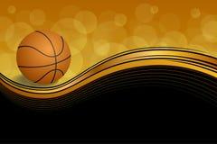 Vector negro anaranjado abstracto del ejemplo de la bola del baloncesto del deporte del fondo Foto de archivo libre de regalías