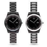 Vector negro de la colección del metal del reloj Imágenes de archivo libres de regalías