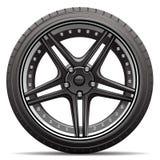 Vector negro del coche de la rueda Imagen de archivo