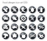 Vector negro del sistema del icono del alergénico de la comida del botón stock de ilustración